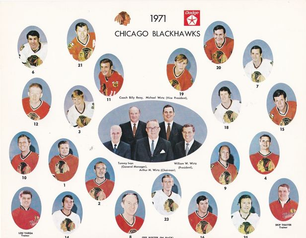 Chicago Blackhawks Team Photo 1971