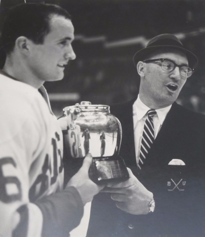 Boston Terriers Dennis O'Connel & coach Jack Kelly with the 1966 Bean Pot Trophy