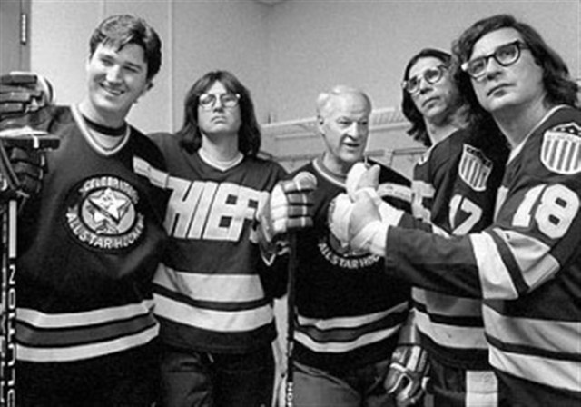 Mario Lemieux, Gordie Howe and the Slap Shot Movie Hanson Brothers 2007