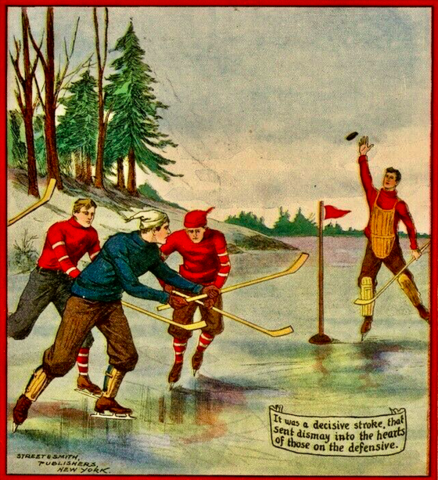 Antique Hockey Art 1909 from Dick Merriwell's Driving TIP TOP WEEKLY