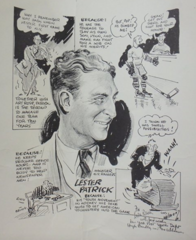 Gus Uhlman Hockey Drawing for Lester Patrick New York Rangers Manager 1935