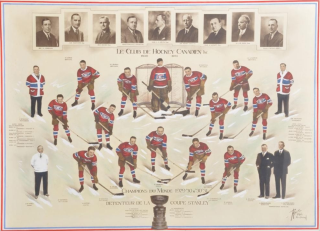 Montreal Canadiens 1931 Stanley Cup Champions - Hand Tinted Team Photo