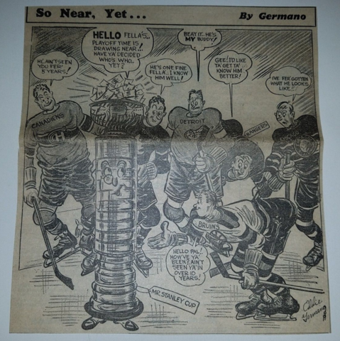 1951 Stanley Cup Cartoon by Eddie Germano (signature)