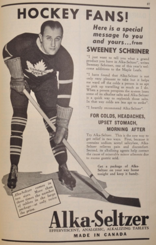 Toronto Maple Leafs Sweeney Schriner Ad for Alka-Seltzer 1940