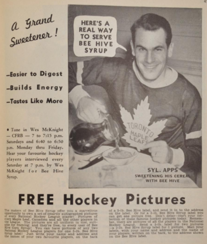 Toronto Maple Leafs Syl Apps Ad for Bee Hive Corn Syrup 1940