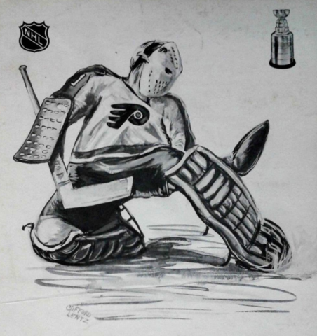 Bernie Parent Drawing by Clifford Lentz - 1974 Philadelphia Flyers
