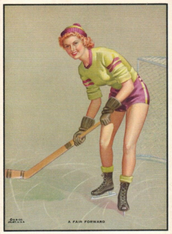 "Antique Hockey Postcard 1940 ""A Fair Forward"" by Gerlach Barklow"