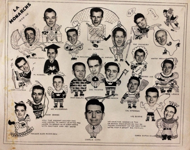 Los Angeles Monarchs Team Montage 1948 Pacific Coast Hockey League