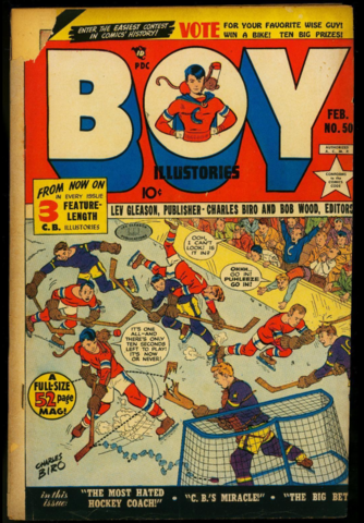 1942 Boy Comics #50 Hockey Art by Charles Biro