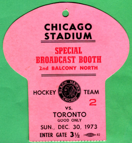 Hockey Media Pass 1973 Chicago Stadium - Chicago Black Hawks