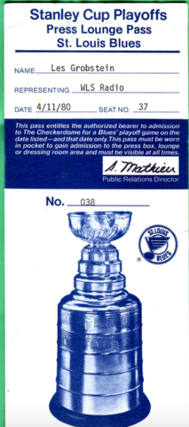 Hockey Media Pass 1980 St. Louis Blues