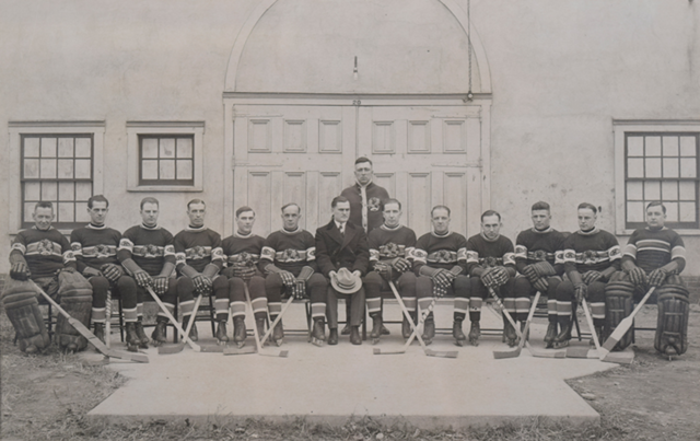 "Montreal Canadiens Team Photo 1924 with ""Globe Team Jerseys"" at Grimsby Arena"
