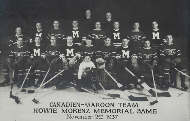 Montreal Canadien & Maroon Team for Howie Morenz Memorial Game 1937