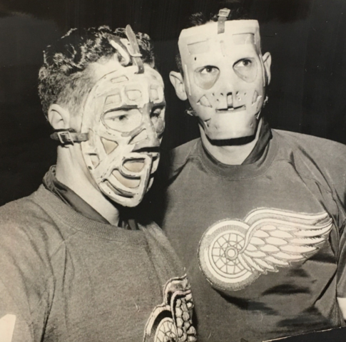 Dennis Riggin & Terry Sawchuk wearing New Goalie Masks 1962 Lefty Wilson Mask