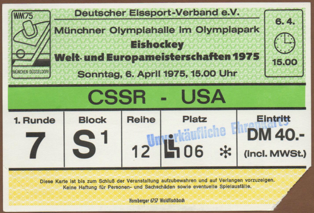 1975 World Ice Hockey Championships Ticket - April 6, 1975