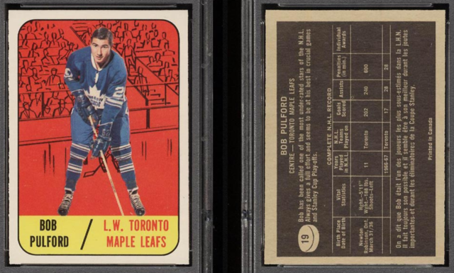 Bob Pulford 1967 Topps Hockey Card #19