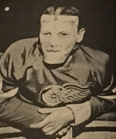 Detroit Red Wings Goalie Terry Sawchuk Wearing a Mask 1963