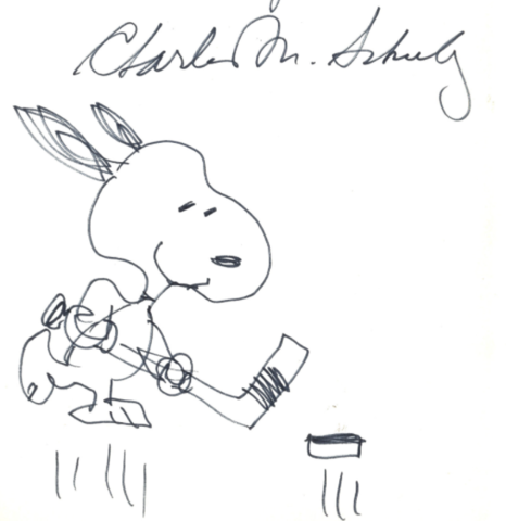 Snoopy Hockey with Charles M. Schulz Autograph
