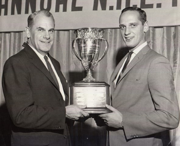Jacques Laperrière 1964 Calder Memorial Trophy Winner accepting from Syl Apps