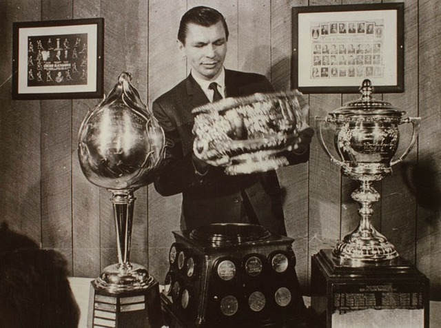 Stan Mikita with Hart Trophy, Art Ross Trophy & Lady Byng Memorial Trophy 1967