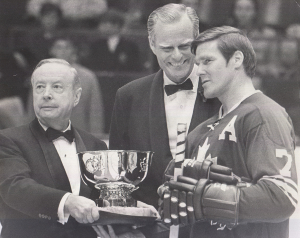 Tim Horton accepts from Foster Hewitt, the Toronto Maple Leafs MVP Trophy 1969