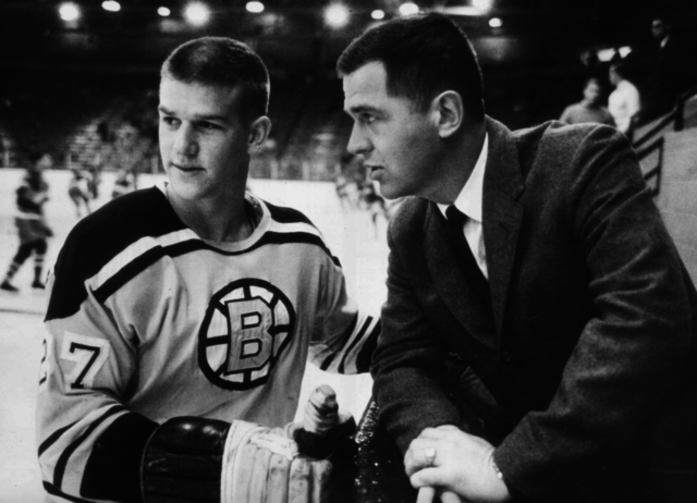 Boston Bruins Bobby Orr and Coach Harry Sinden 1966 - Bobby Orr number 27