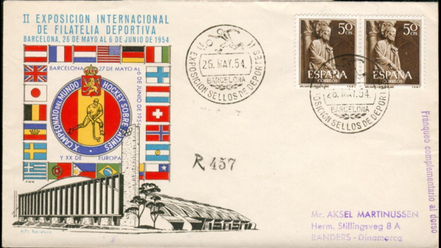 1954 Roller Hockey World Cup First Day Cover Envelope with Stamps