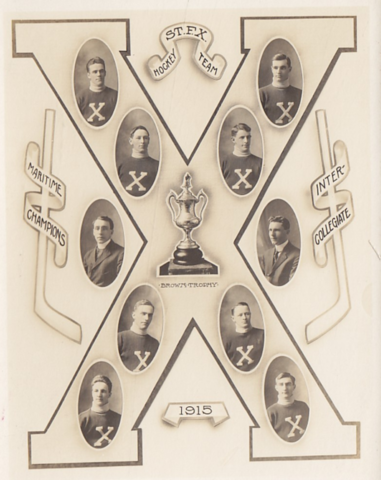 St. Francis Xavier University Hockey Team 1915 Brown Trophy Champions