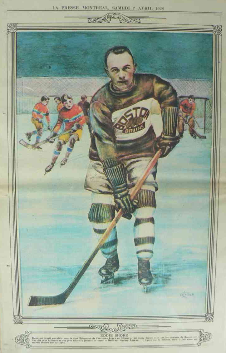 Eddie Shore - Boston Bruins La Presse Hockey Photo 1928  201652c92