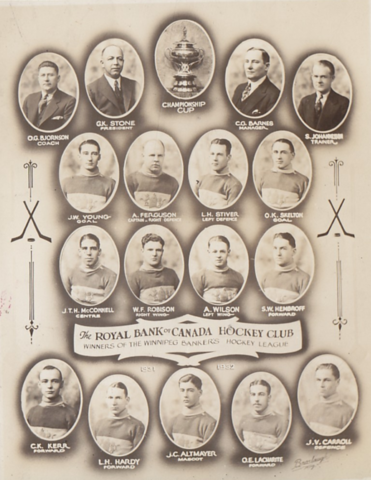 Royal Bank of Canada Hockey Club 1932 Winnipeg Bankers Hockey League Champions