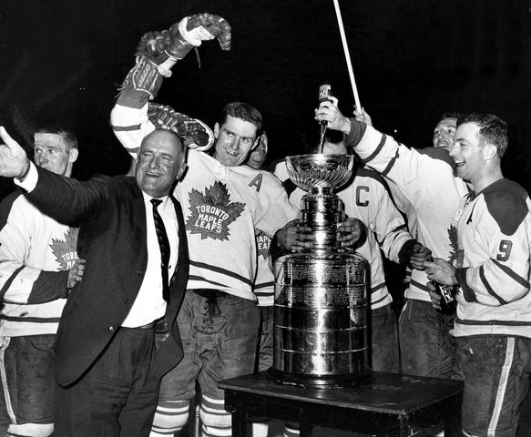7up Being Poured Into 1962 Stanley Cup by the Champions Toronto Maple Leafs
