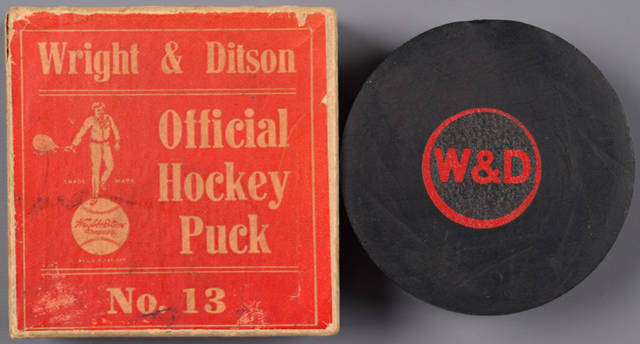 Wright & Ditson Hockey Puck with Original Box 1940s