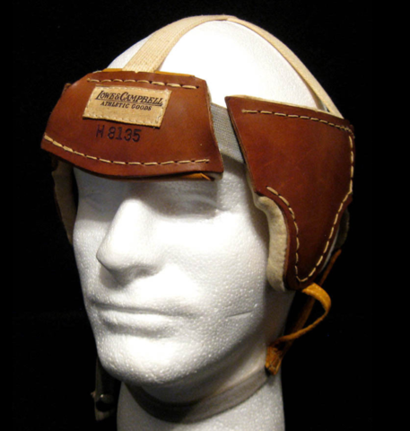 1930s Lowe & Campbell Hockey Helmet - side front view