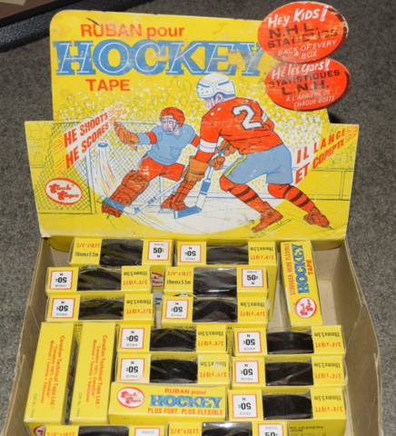 Tuck Tape Hockey Display Box 1970s With Vintage Black Hockey Tapes