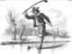 Antique Bandy Player Engraving 1867 Wrangle, Lincolnshire