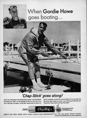 Gordie Howe Hockey Ad for Chap Stick 1964