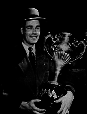 Calgary Stampeders Goalie Russ Dertell with the 1946 Allan Cup