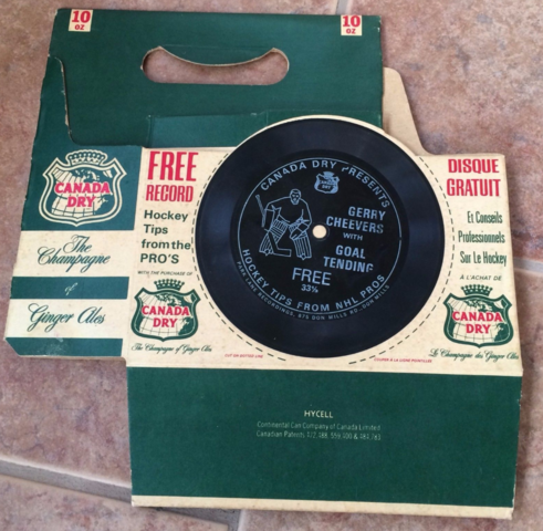 Canada Dry Hockey Record 1970 Gerry Cheevers Goal Tending