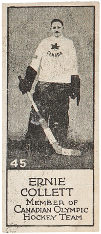Ernie Collett Hockey Card 1924 V122 Willard's Chocolate Hockey Card #45