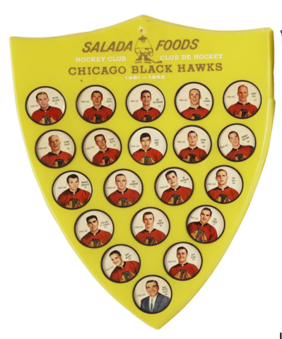 Shirriff Hockey Coins / Salada Foods 1961 Chicago Black Hawks