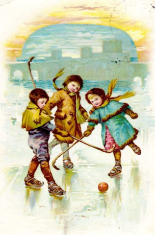 Antique Ice Polo 1911 Children Playing Ice Hockey Postcard