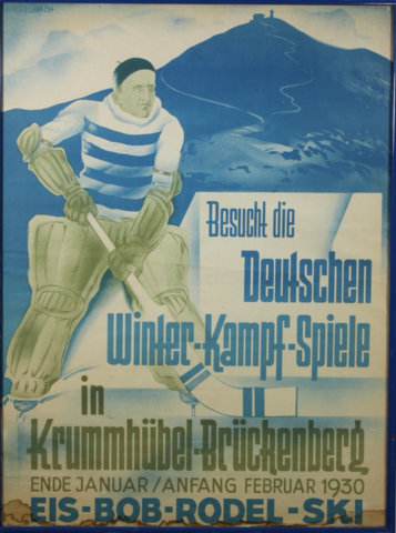Krummhübel-Brückenberg EisHockey 1930 German Ice Hockey Poster