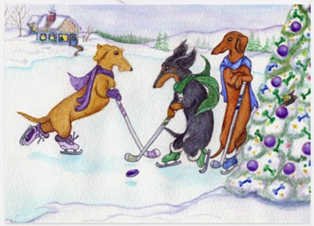 Hockey Christmas Card - Hockey Dogs