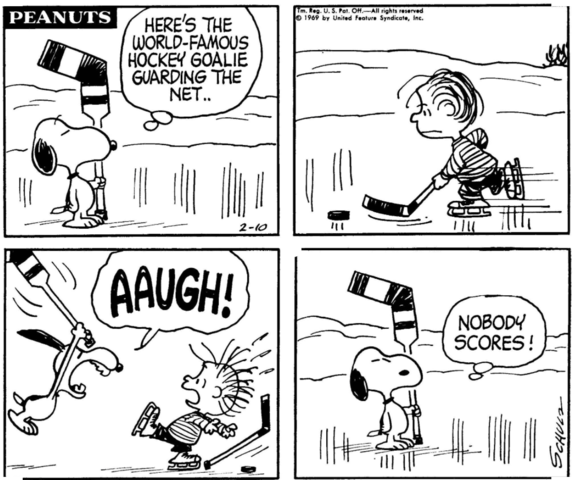 Snoopy - World Famous Hockey Goalie and Nobody Scores