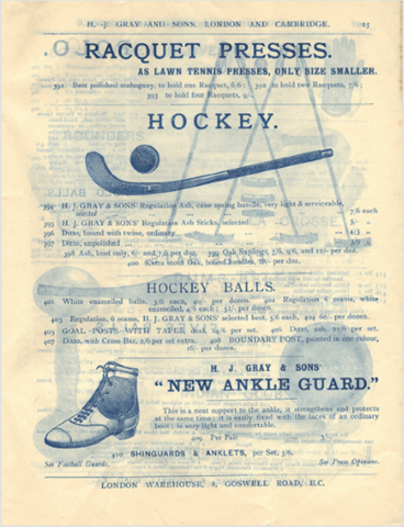 Antique Field Hockey 1890 H. J. Gray and Sons Hockey Ad - Grays Hockey
