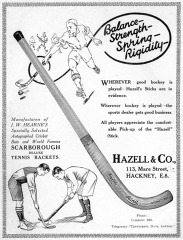 Hazell & Co. - Hazell's Adroit Hockey Stick Ad 1925