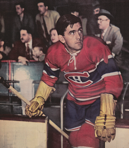 Maurice Richard Stepping Out of the Montreal Canadiens Bench 1944