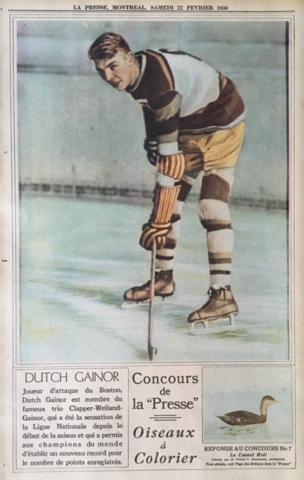 Dutch Gainor 1930 La Presse Hockey Photo