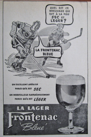 Hockey Beers - La Frontenac Bleue 1940 Hockey Ad