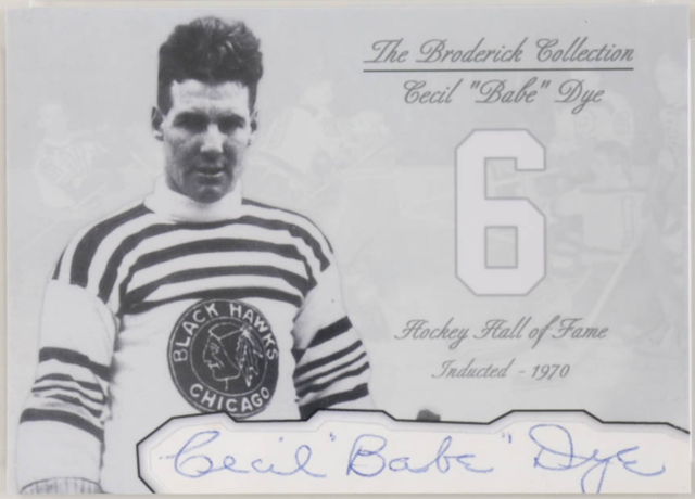 "Cecil ""Babe"" Dye Hockey Card - The Broderick Collection"